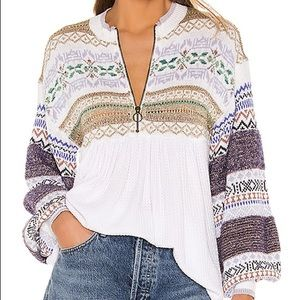 NWT M FREE PEOPLE CABIN FEVER BABYDOLL top shirt